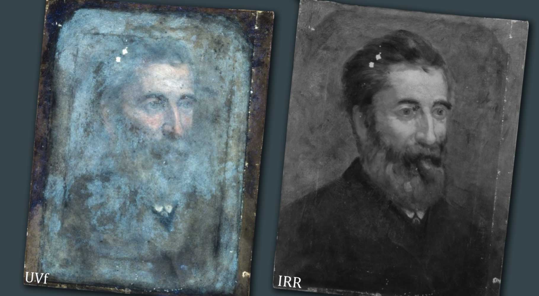 UVf and IRR photography of oil painting