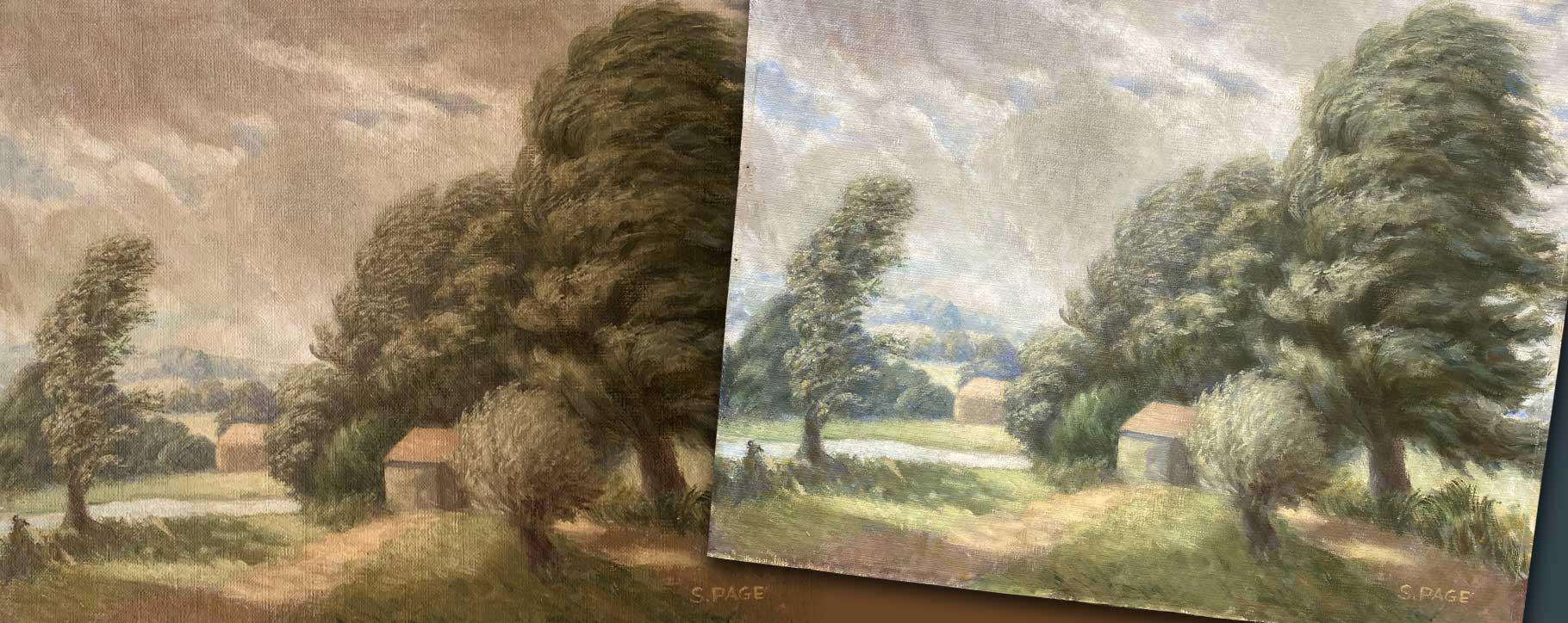 oil on panel before and after restoration - protecting paintings on panel