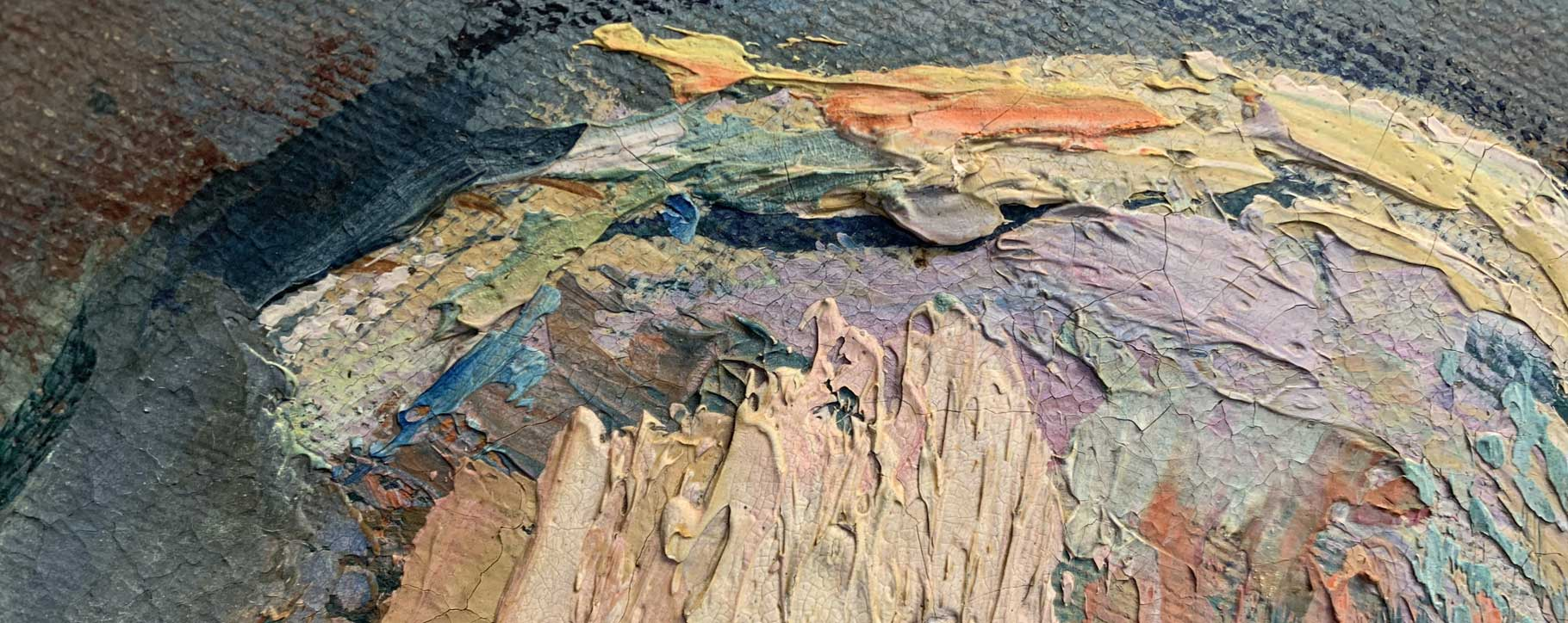 close up of paint impasto and colours