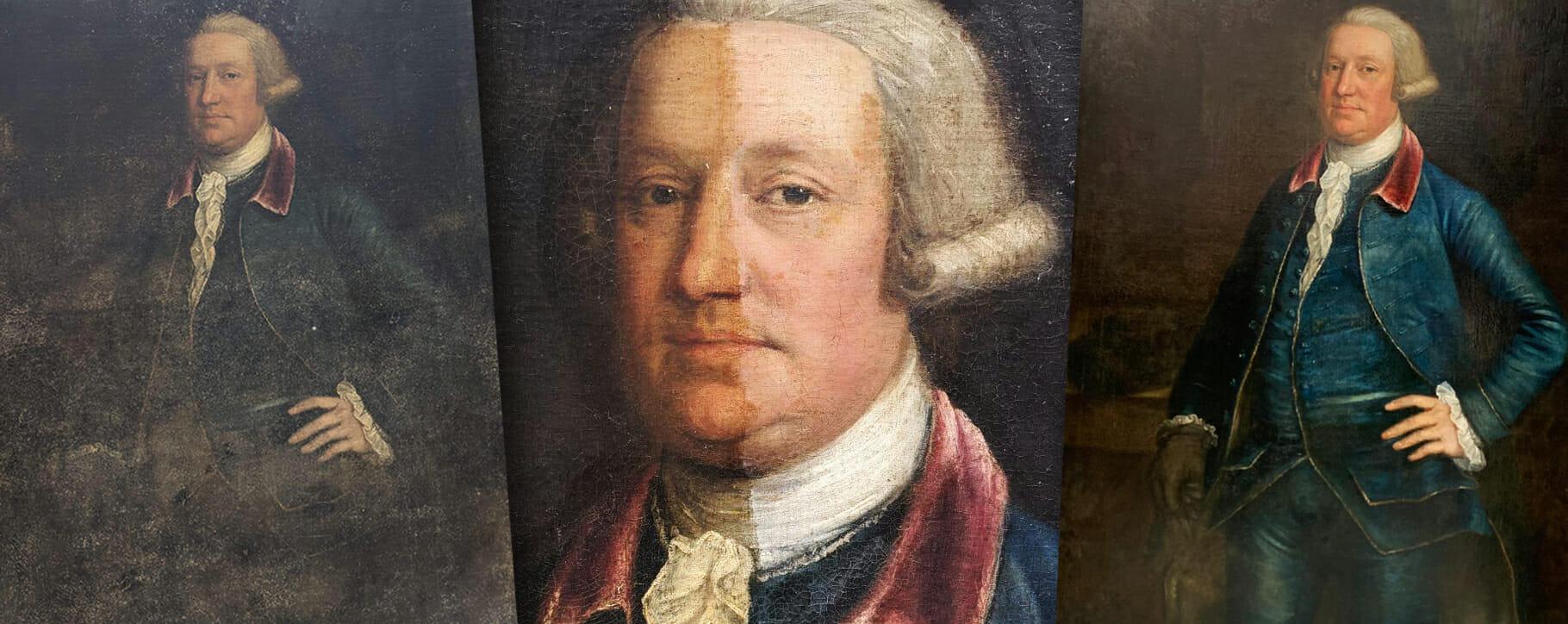 Mould Damage 18th century portrait