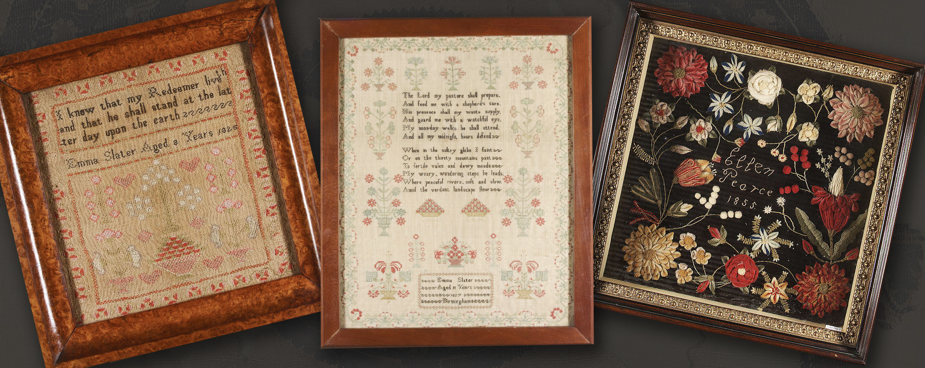Textile Samplers Framed
