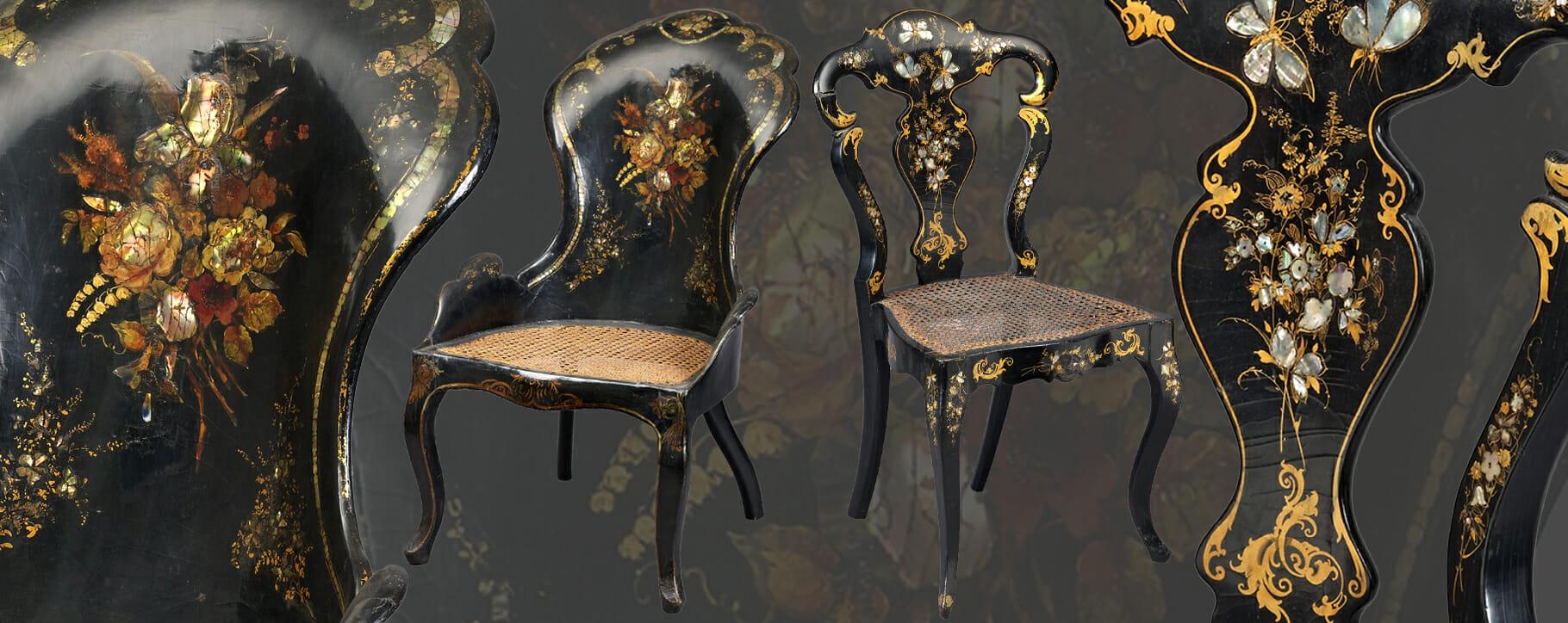 Papier Mache Antique Chairs