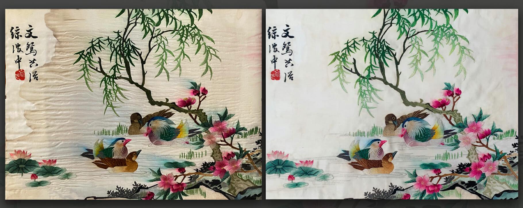 Silk Textile Restoration Ducks