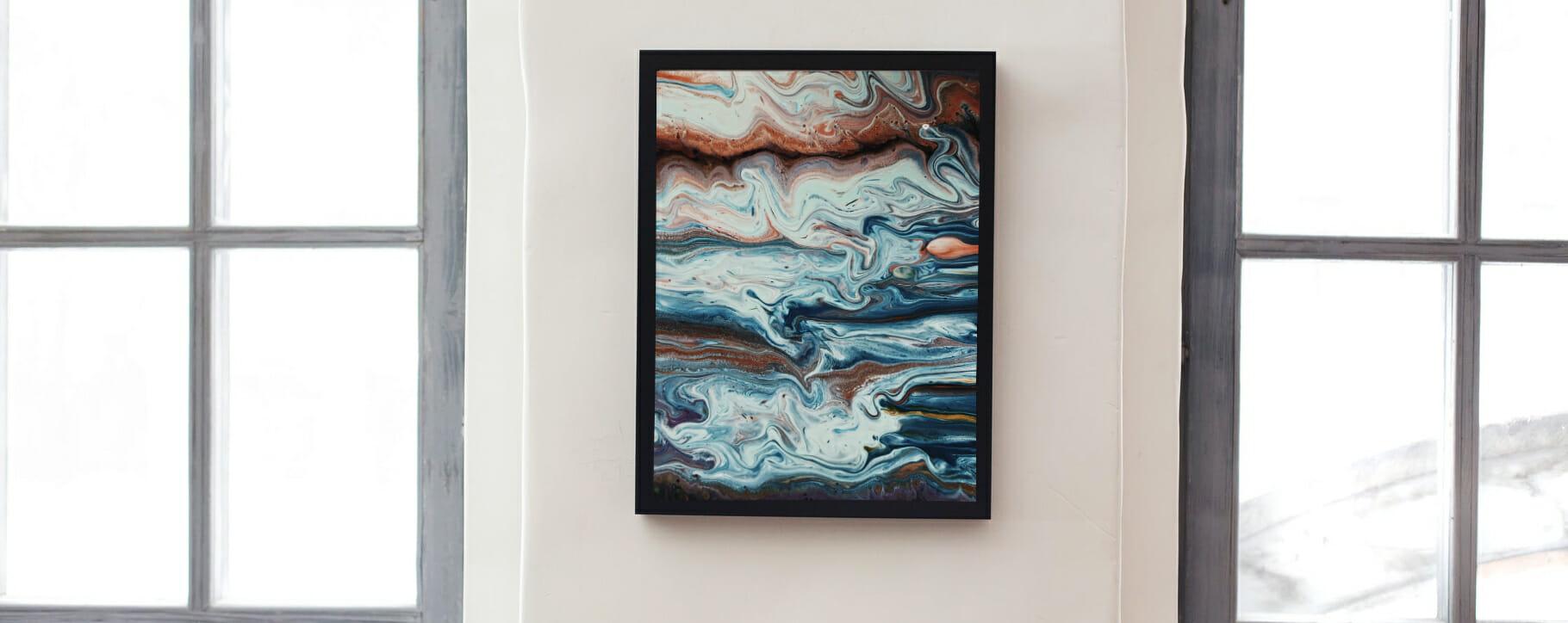 Framed Acrylic Pour