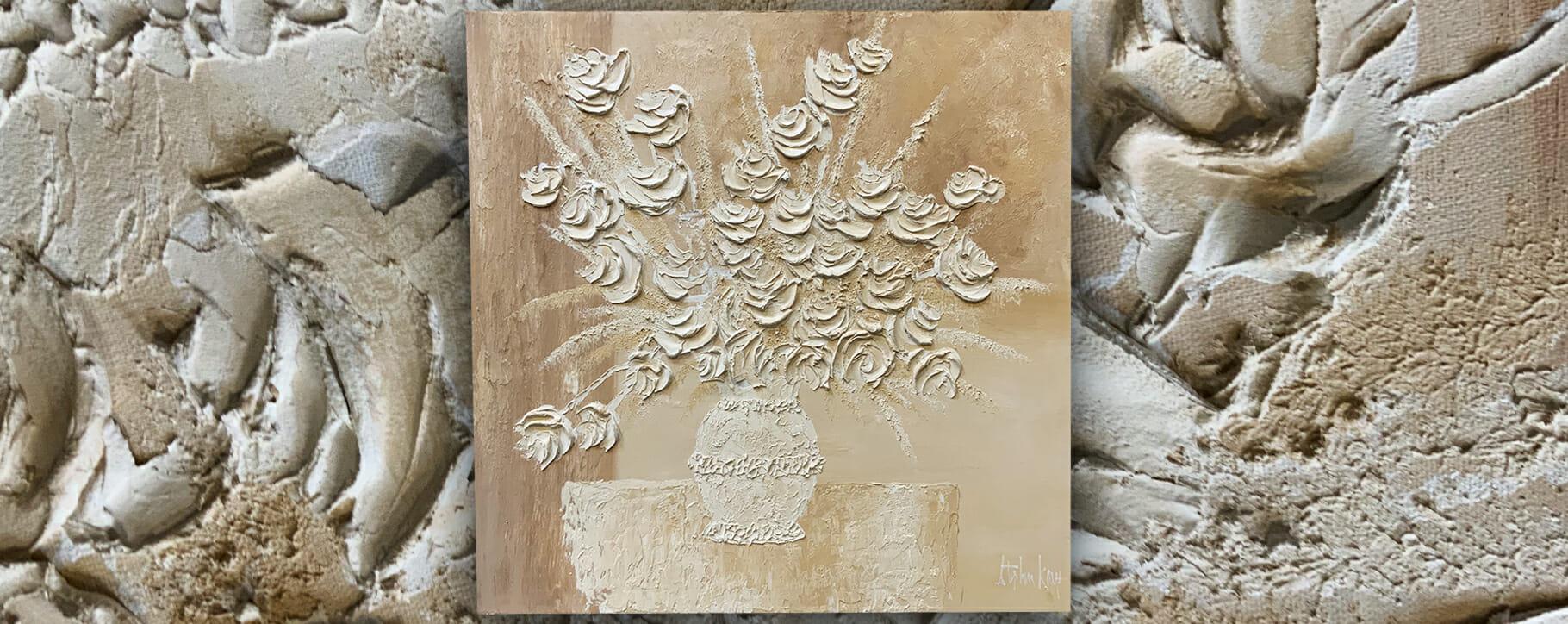 Impasto White Flowers Flaking
