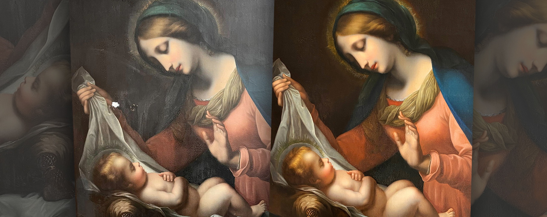 Virgin Mary Painting Before After