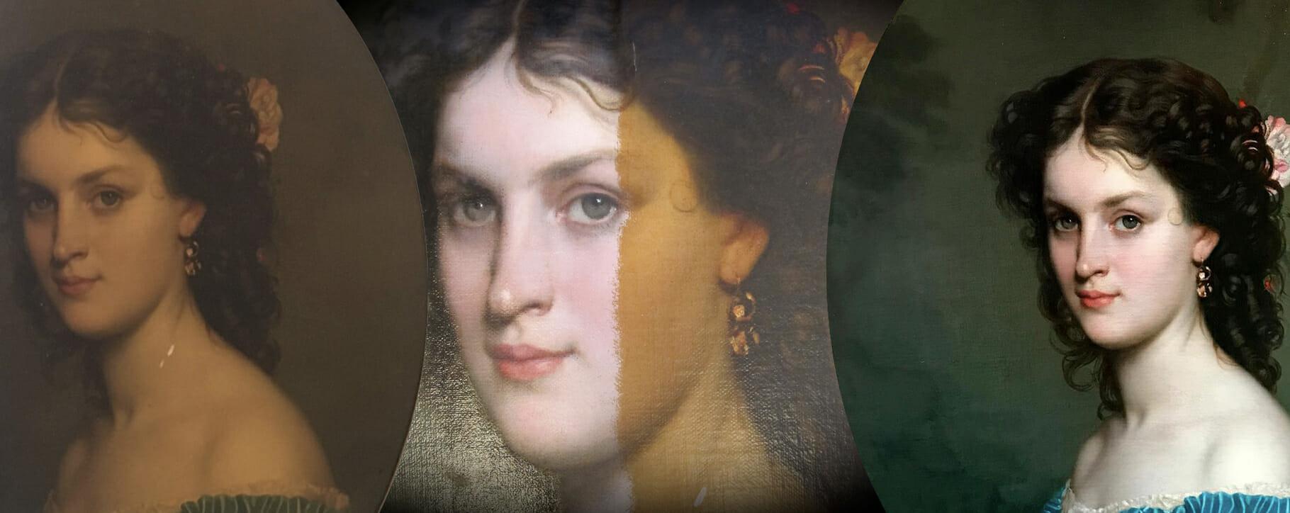Smoke Nicotine Damage Victorian Portrait