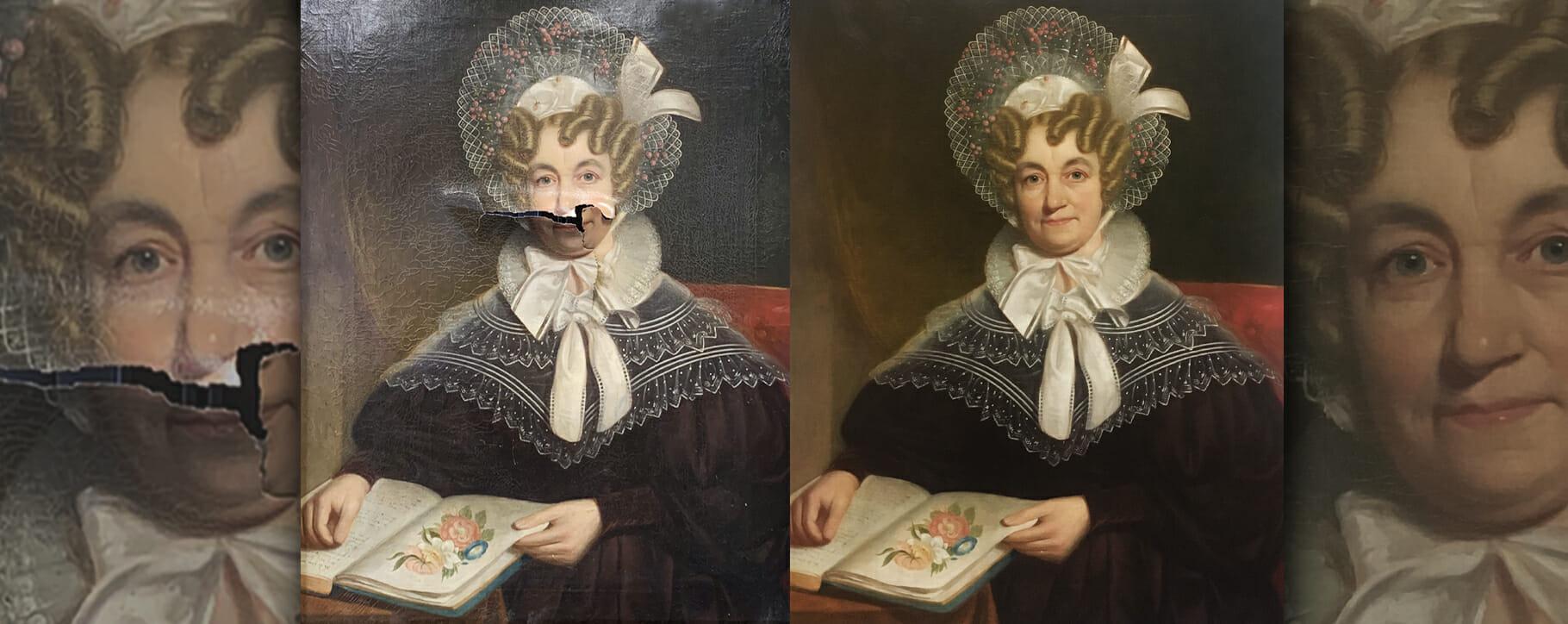 19th Century Victorian Torn Painting Restoration