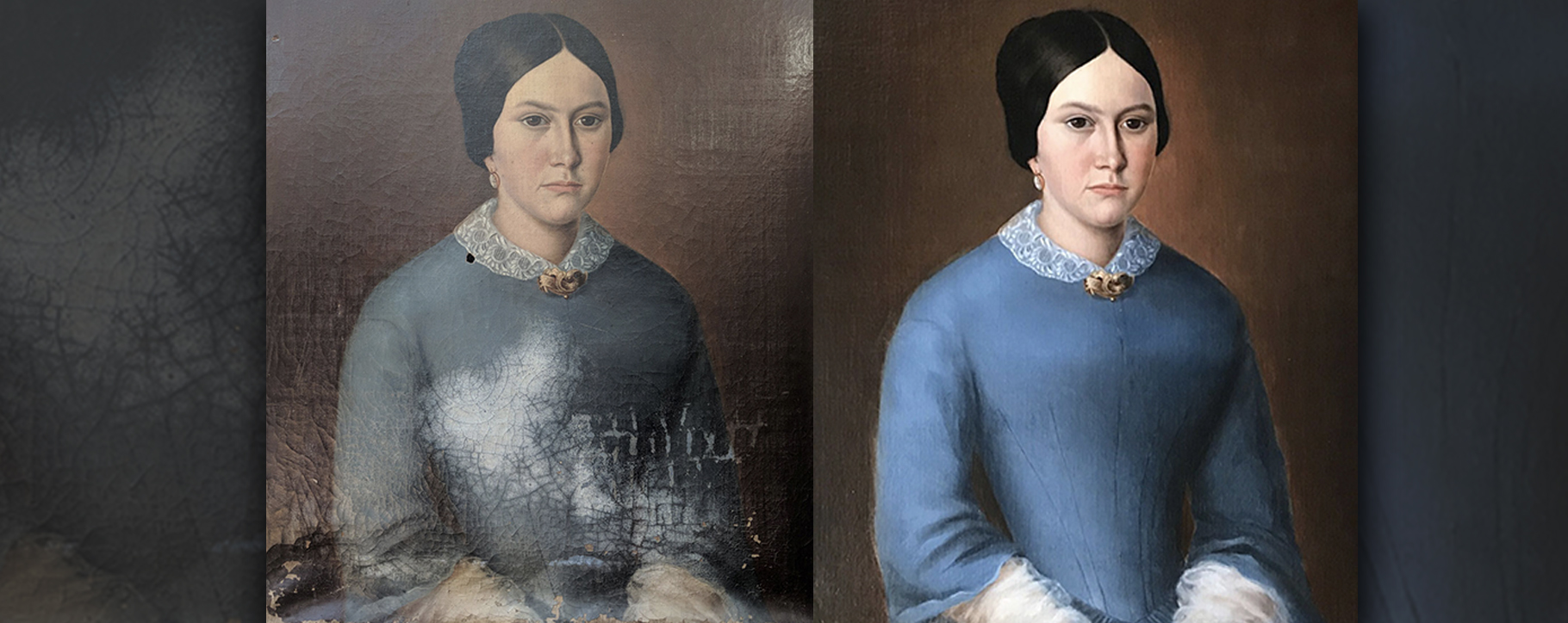 Before After Water Damaged Victorian Portrait