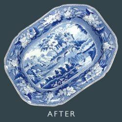 Blue and white platter after restoration