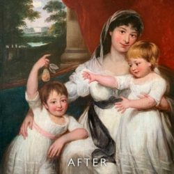 after cleaning of family painting