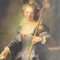 portrait of woman before cleaning