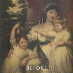 before cleaning of family painting