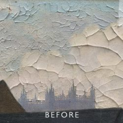 cracked painting before restoration