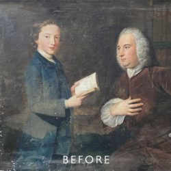 mould damaged painting before restoration