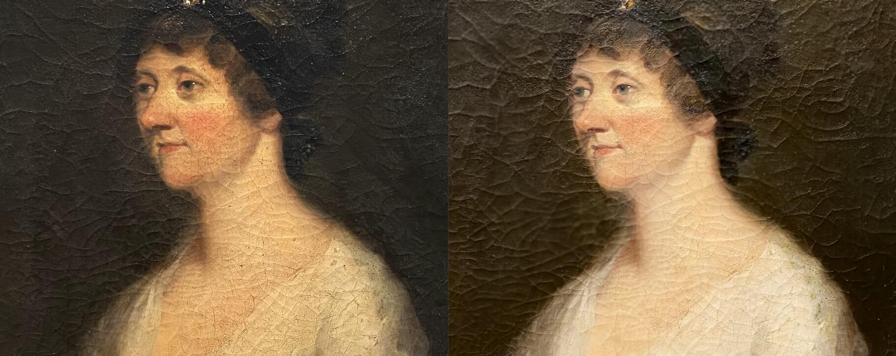 Regency Cracked Discoloured Portrait
