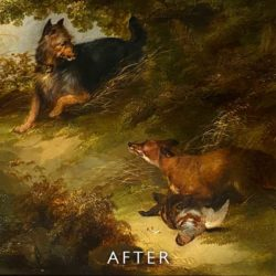 taer repaie after restoration on fox painting