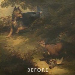 tear repair on fox painting