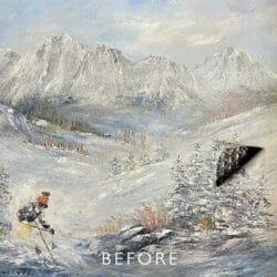 ski scene with tear