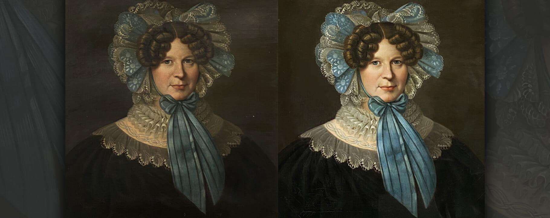 Victorian Bonnet Portrait Restoration