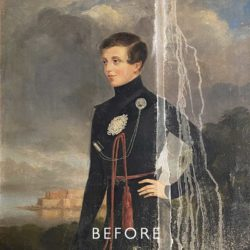 water damamged painting before restoration
