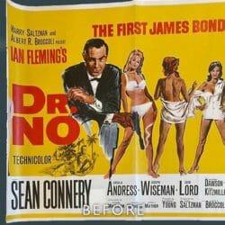 James Bond Dr No Poster before restoration