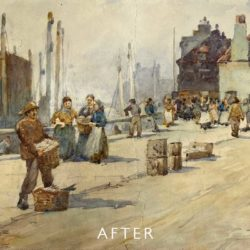 watercolour with tear before restoration