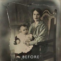 torn photograph before restoration